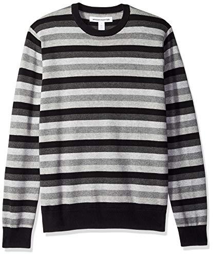 Amazon Essentials Men's Crewneck Stripe Sweater, Black/Multi Stripe, X-Small