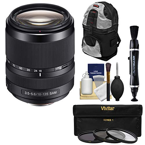 Sony Alpha A-Mount 18-135mm f/3.5-5.6 ED SAM Zoom Lens with 3 UV/CPL/ND8 Filters + Backpack Kit (Sony A55 Lenses)