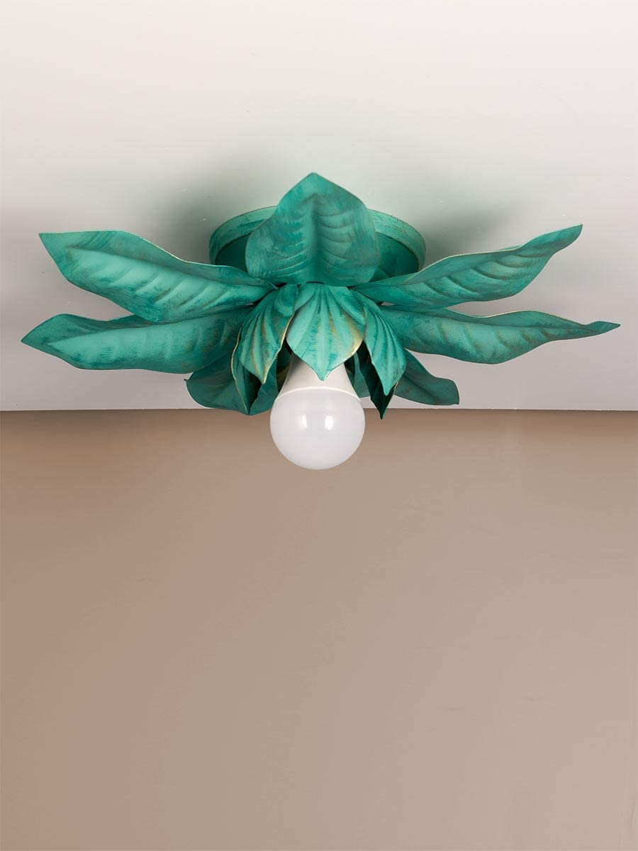 Helios Leuchten 8199 Florentiner LED Deckenleuchte grün | florale Lampe Leuchte | Blätter Deckenlampe Landhausstil | einflammig Grün 35cm