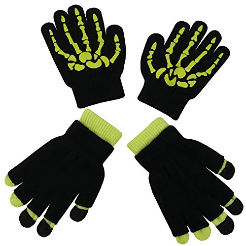 N'Ice Caps Boys Multi Pack Magic Stretch Glove Assortment (6-12yrs, Neon Yellow Skeleton/Black -