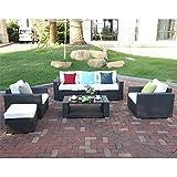 Cheap Do4U 7pcs Outdoor Patio Garden Rattan Wicker Sofa Set Sectional Furniture Set (Expresso-9002)