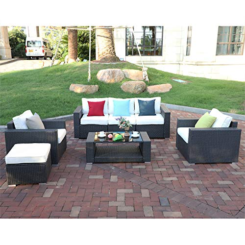Do4U 7pcs Outdoor Patio Garden Rattan Wicker Sofa Set Sectional Furniture Set (Expresso-9002)