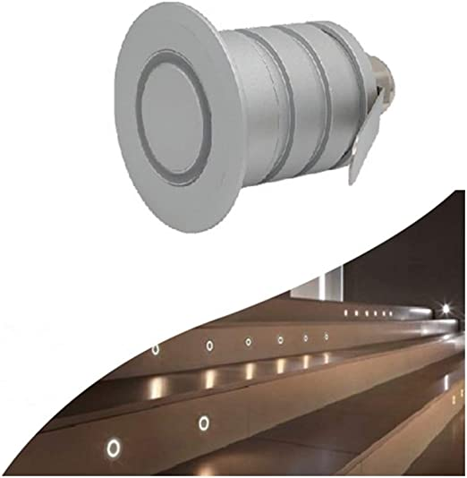 ZJX-F Indoor and Outdoor Ladder Lamp Ring Wall Lamp Square Staircase Corridor Step Corner Lamp IP67 Protection 1W (Color : Cold White, Size : 1w)