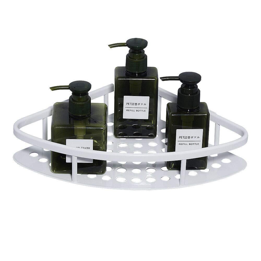 AUNGZONE Corner Shower Caddy Bathroom Shelf Rustproof Wall Mount Nail Free Glue+Adhesive Aluminum 1 Tier(White)
