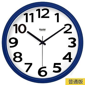 BYLE Silencio de Moda creativa reloj minimalista moderno arte digital dibujo reloj de cuarzo Decoracion Reloj de pared, 13 pulgadas, Basic azul zafiro -030 ...