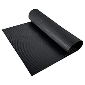 Resilia - Black Plastic Floor Runner/Protector - Embossed Wide Rib Pattern, (27 Inches Wide x 12 Feet Long)