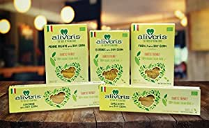 Aliveris Diabetic Friendly Pasta with Soy Germ (Pack of 5, one of each) Spaghetti, Linguine, Penne R, Fusilli and Elbow–USDA Organic–NON-GMO-Vegan–Bronze Cut-Made in Italy