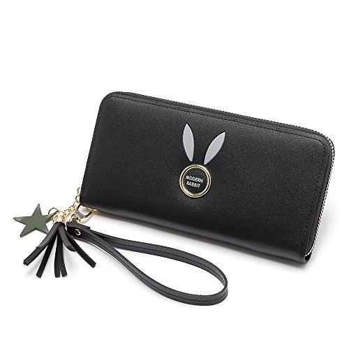 de Zipper Pattern Blue Embrague Color Black Long Lovely Stylish Lady Rabbit Monedero gpwxEna0qF