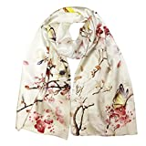 Bowbear Women's 100% Charmeuse Oil Painting Long Scarf, Birds and Cherry Blossoms