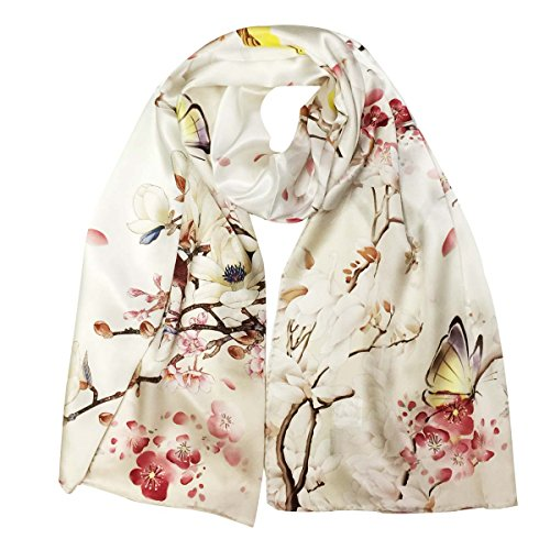 - Wrapables Luxurious 100% Charmeuse Silk Long Scarf with Hand Rolled Edges, Cherry Blossoms