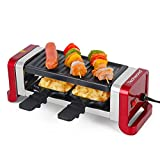 Techwood Electric 2-Person Raclette Grill-Nonstick Removable Dishwasher Safe Plate-Indoor Barbecue BBQ Portable Small Tabletop Home Grill TWRG-21R
