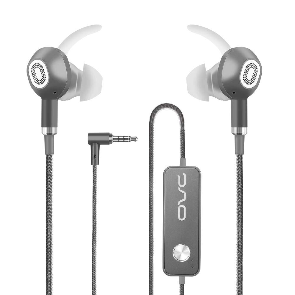 OVC Active Noise Cancelling Earbuds Headphones Wired In Ear Earphones - 60 Hours ANC Playtime, Dual Driver, Bass Enhancement, Volume Control with Microphone, 3.5mm Plug for Android (Black) H15