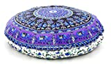 32'' Inch Elephant Mandala Round Cotton Floor Pillow Cover Cotton Handmade Hippie Large Seating Bohemian Ottoman Pouf Covers By ''Handicraft-Palace''
