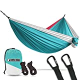 Bear Butt Double Parachute Camping Hammock, Sky Blue / Pink / White For Sale