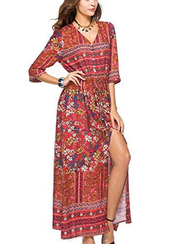 Choies Bouton Des Femmes En Robe Maxi Été Imprimé Floral Split Partie Flowy Rouge-4