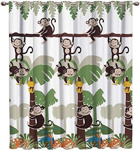 Mosphee Blackout Window Curtains Window Treatment, Monkey Jungle in The Tree Cartoon Pattern 52×96 Inch Room Darkening Curtain Panels for Kitchen Bedroom Living Room