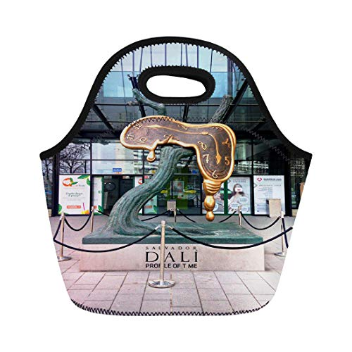 Semtomn Lunch Bags Wroclaw Poland March 12 the Persistence of Memory Catalan Neoprene Lunch Bag Lunchbox Tote Bag Portable Picnic Bag Cooler Bag
