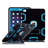 iPad Air 2 Case, TabPow [Hybrid Shockproof Case] Rugged Triple-Layer Shock-Resistant Drop Proof Defender Case Cover with KickStand [Full Warranty] For Apple iPad Air 2 with Retina Display / iPad 6, Blue