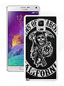 Sons of Anarchy Logo White Samsung Galaxy Note 4 Screen Cellphone Case Genuine and Fashion Design