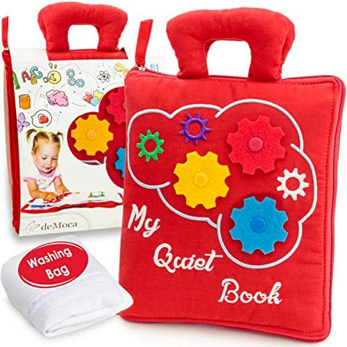 deMoca Quiet Book for Toddlers - Montessori Basic Skills Activity - Soft Travel Toy & Educational Busy Book for 2 3 4 Year Old Boys & Girls + Zipper Bag (Red)