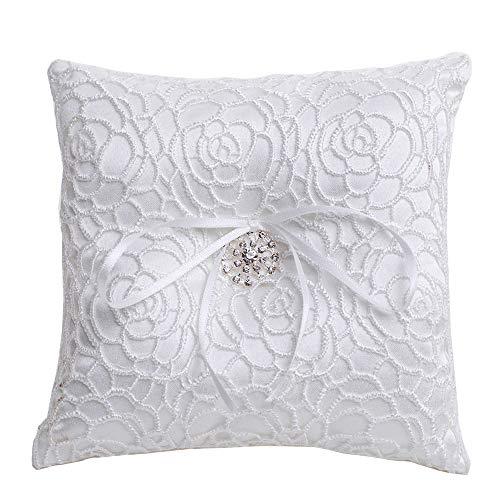 LONGBLE White Elegant Wedding Ring Pillow Rhinestone Flower Decoration Ring Cushion Bearer Satin with Ribbon 6.1 Inch Square (W1)