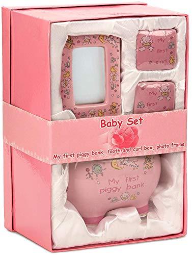 BRUBAKER Set 'Mijn eerste spaarvarken', roze voor eerste spaargeld, eerste melktanden, haren en met fotolijst