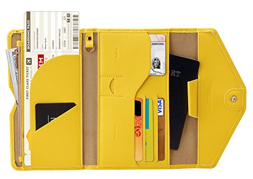 (Zoppen Multi-purpose Rfid Blocking Travel Passport Wallet (Ver.4) Tri-fold Document Organizer Holder, 22 Primrose Yellow )