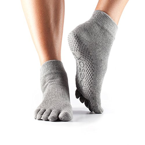 ToeSox Women's Grip Full Toe Ankle Socks, X-Small, Heather Grey