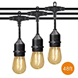 LEPOWER 49Ft String Lights, 2W LED Bulbs 10 Sockets Patio Lights, IP 65 Waterproof Outdoor Hanging Lights for Commercial, Cafe, Backyard, Patio, Deck, Garden, Porch, Market (49Ft)