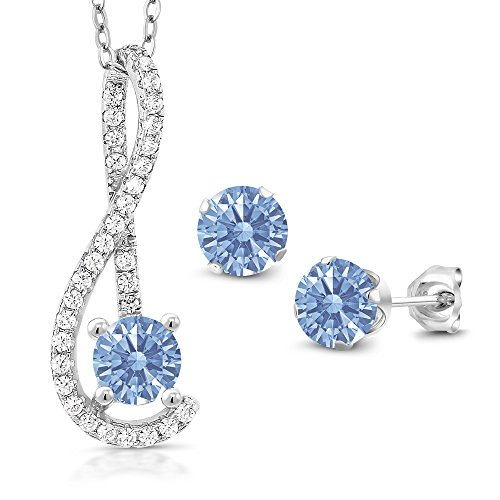 925 Silver Pendant Earrings Set White Created Sapphire and Set with Lavender Zirconia from Swarovski