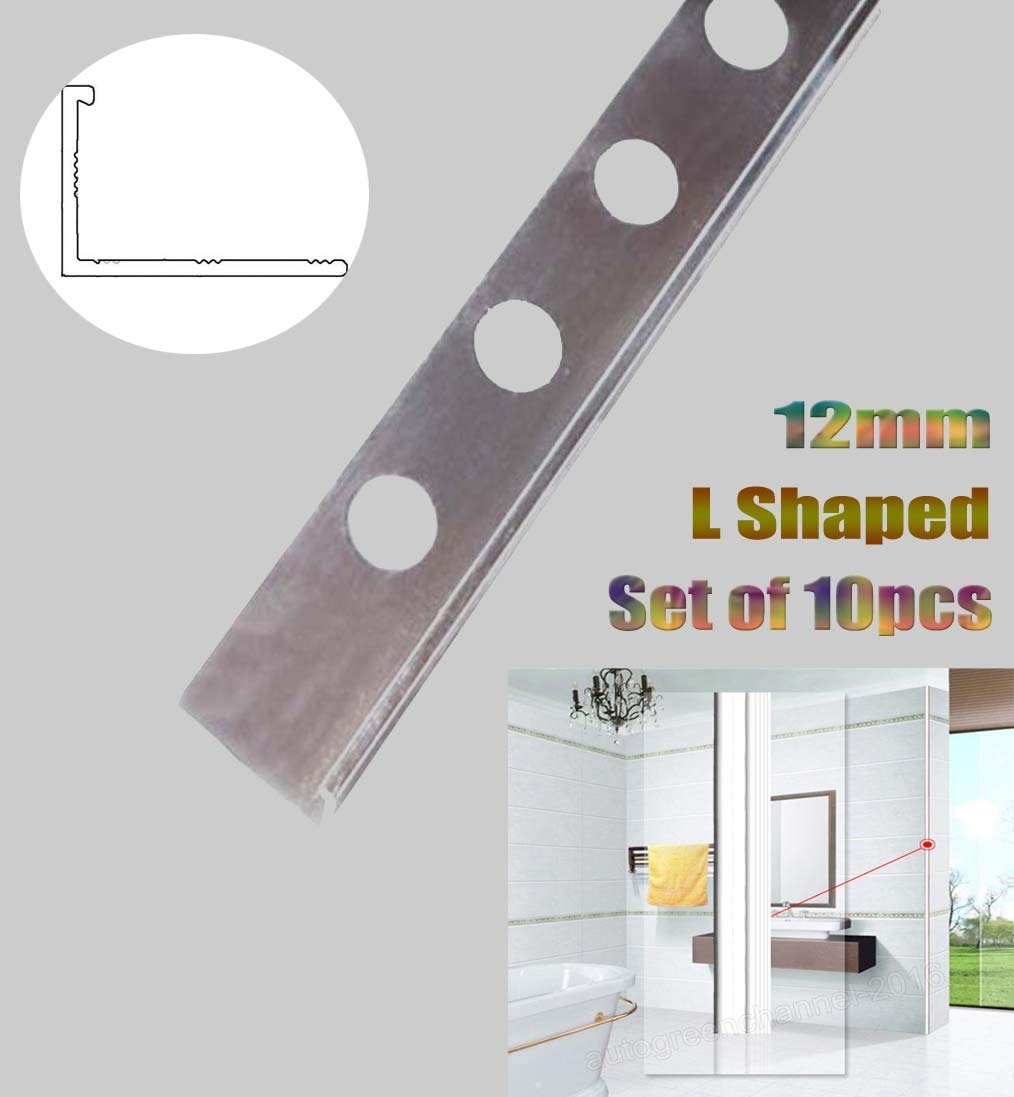 2.44M Length 12MM Depth L Shaped Tile Trim L Shaped Aluminium Chrome to Protect The Outer Edges of The Tiles SiKy