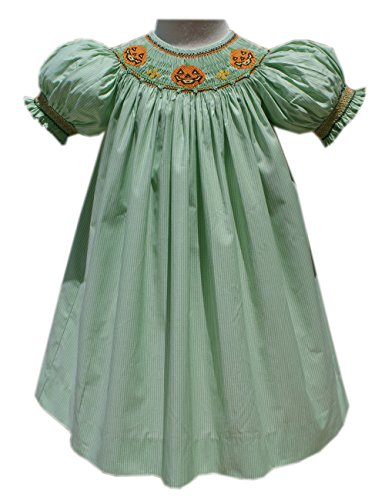 Carouselwear Girls Halloween Jack-O-Lantern Smocked Fall -
