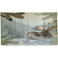 2x3 Brown Aqua Blue Moose River Wildlife Printed Runner Rug, Indoor Animal Pattern Living Room Rectangle Carpet, Southwest Cabin Themed, Soft Synthetic Material, Hunting Wild Nature Lodge Cottage