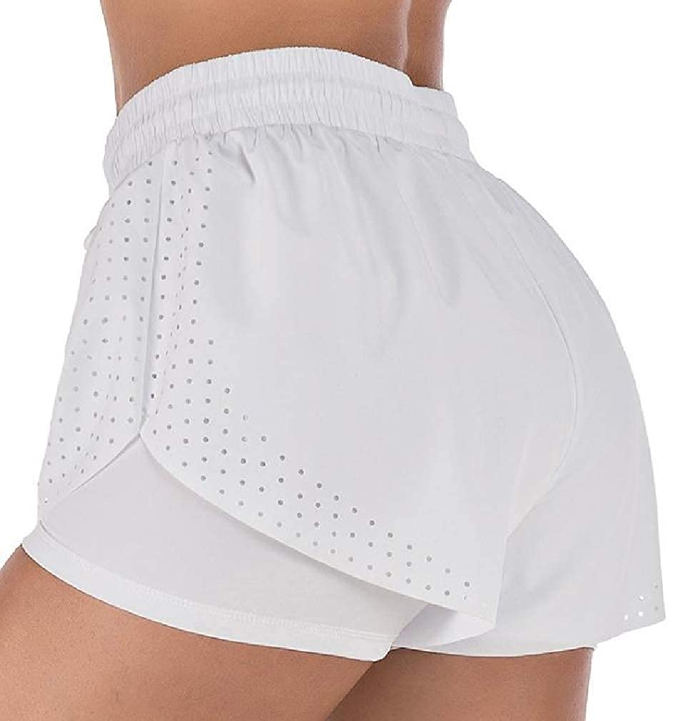 Cromoncent Womens Elastic Waist Double Layer Sports Quick Dry Yoga Shorts