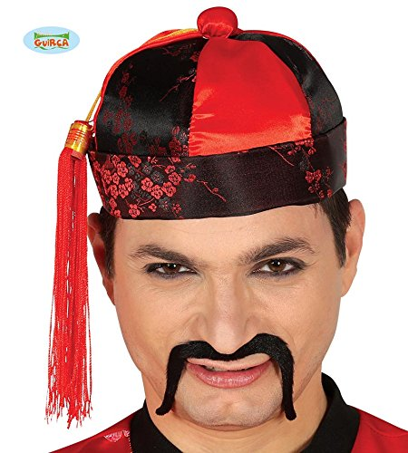 Cappello mandarino rosso e nero per travestimento cinese carnevale ... 9cf149f62ef0