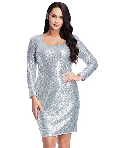 Grapent Women's Plus Size Sequin Cocktail Sheath Short Dress Bodycon Long Sleeve Silver 20W