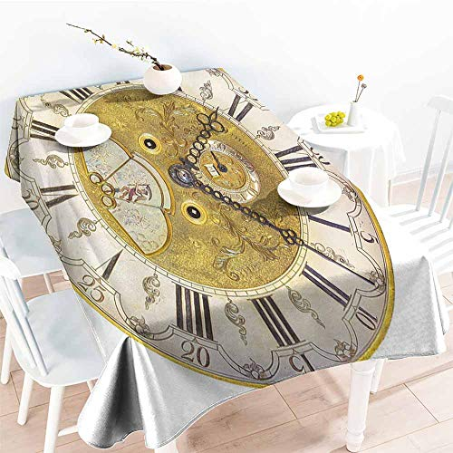 Onefzc Small Rectangular Tablecloth,Clock Vintage Theme A Seventeenth Century Ornamental Clock Face with Roman Numbers,Resistant/Spill-Proof/Waterproof Table Cover,W54x72L Gold and Black