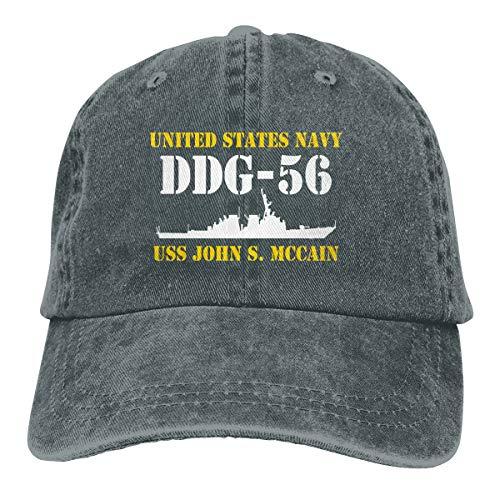 HZIJUE Navy USS John S. McCain DDG-56 American Flag Men's Washed Adjustable Baseball - Mccain Flag