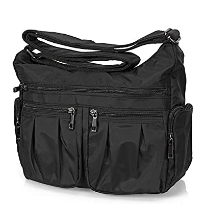 Volcanic Rock Shoulder Bag Corss-body Purse Waterproof Nylon Handbags with Zipper for Women