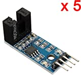 DAOKI 5 PCS Slot Type IR Optocoupler Speed Sensor Module LM393 for Arduino