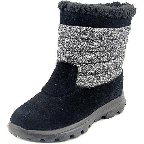 Skechers Go Walk Move-dedo del pie redondo resplandor de ante Botas marrones de invierno Black