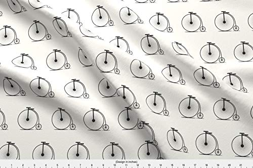 Spoonflower Penny Farthing Fabric - Penny Farthing Gentleman Hipster Bicycle Cycling Bike Cyclist - by Lub by Lamb Printed on Performance Piqué Fabric by The Yard