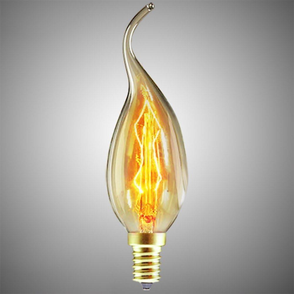 6Pack CTKcom Vintage Antique Edison Bulbs ,Dimmable 40W C35 Vintage Incandescent Chandelier Light,Amber Glass,E14 Base,Warm White 2300k,for Candle Pendant Lights,Home Light Fixtures,110-130V