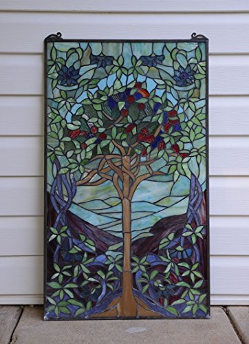 20'' X 34'' Large Tiffany Style Stained Glass Window Panel Tree Of Life by Stain Glass Panel