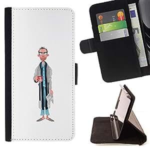 Momo Phone Case / Flip Funda de Cuero Case Cover - Papá Retrato Arte Caricatura Hombre Gafas - Sony Xperia M5