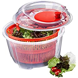 Red Manual 5 Quart Salad Spinner and Keeper for Drying Lettuce & Vegetables, BPA-Free Dishwasher Safe