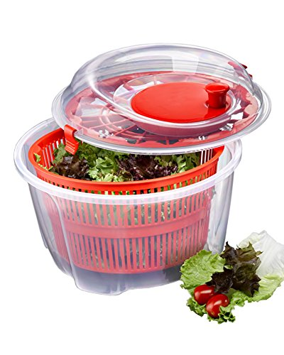 Red Manual 5 Quart Salad Spinner and Keeper for Drying Lettuce & Vegetables, BPA-Free Dishwasher - Spinner Dishwasher Safe Salad
