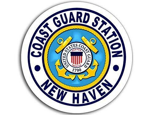 MAGNET 4x4 inch Round Coast Guard Station New Haven Logo Sticker (USCG Navy ct) Magnetic vinyl bumper sticker sticks to any metal fridge, car, signs ()