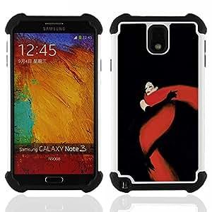 """SAMSUNG Galaxy Note 3 III / N9000 / N9005 - 3 en 1 impreso colorido de Altas Prestaciones PC Funda chaqueta Negro cubierta gel silicona suave (Negro Rojo Fatal Glamorous"""")"""
