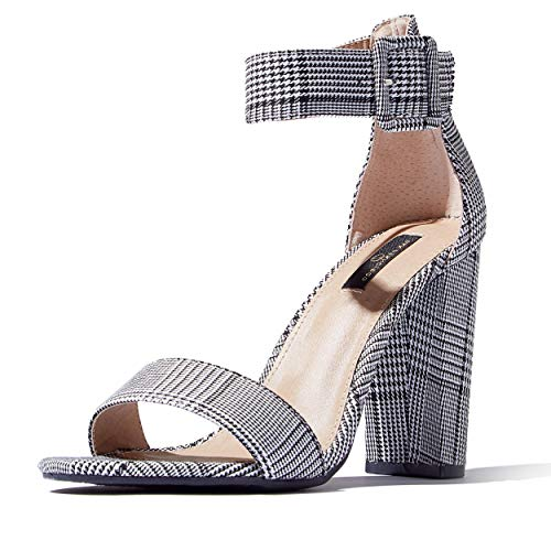 DailyShoes Women's Chunky Stacked Heel Sandal Open Toe Classic Wedding Pumps with Buckle Ankle Strap Casual Sandals Shoes, Black-White Checker SV, 9 B(M) US ()